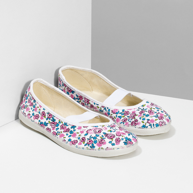 Kinder-Turnschuhe mit Muster, Weiss, Rosa, 379-5001 - 26