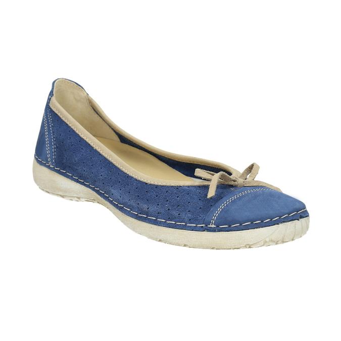 Legere Ballerinas aus Leder weinbrenner, Blau, 526-9503 - 13