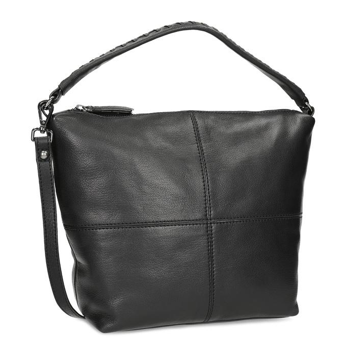 Lederhandtasche mit abnehmbarem Gurt, Schwarz, 964-6233 - 13