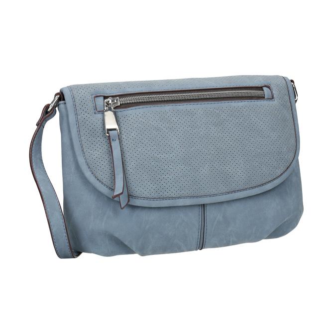 Crossbody-Handtasche mit perforierter Klappe bata, Blau, 961-9709 - 13