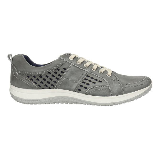 Leder-Sneakers mit Perforation bata, Grau, 846-2634 - 15