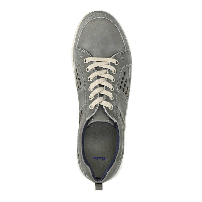 Leder-Sneakers mit Perforation bata, Grau, 846-2634 - 19