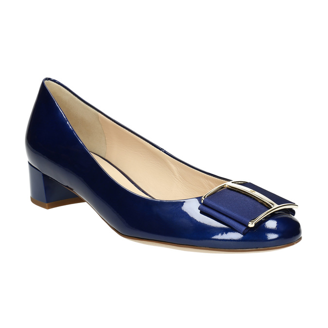 Lederpumps mit einem Schleifchen hogl, Blau, 628-9400 - 13