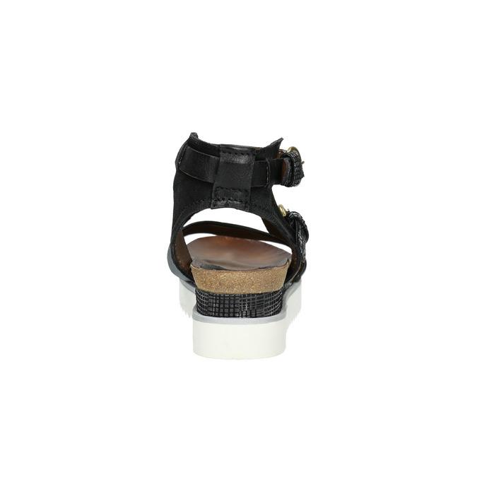 Damensandalen aus Leder mit Flatform bata, Schwarz, 666-6604 - 17