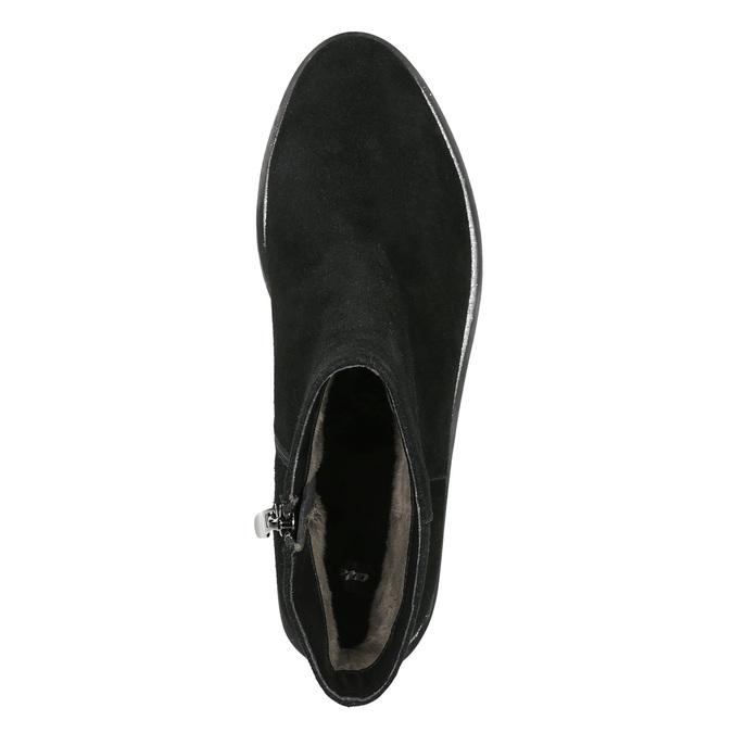 Knöchelschuhe aus Leder mit silberner Umrandung bata, Schwarz, 593-6603 - 26