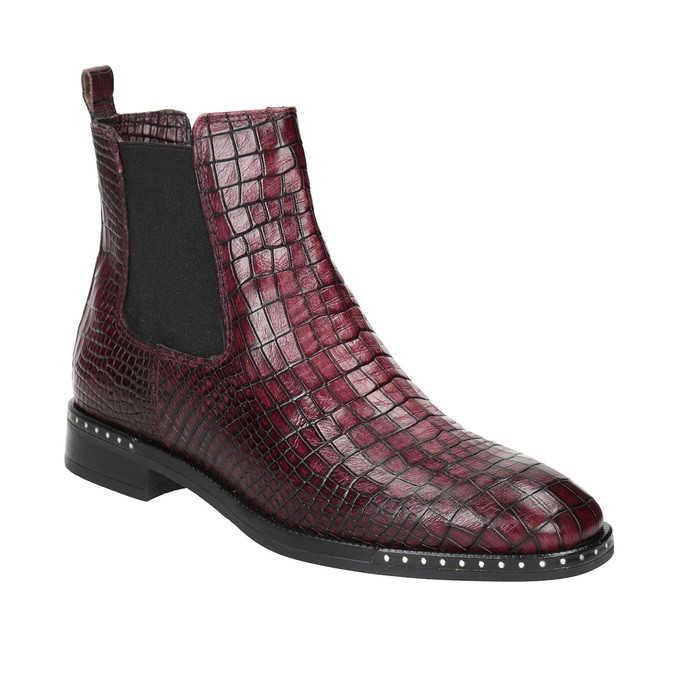 Damen-Chelsea-Boots aus Leder bata, Rot, 596-5678 - 13