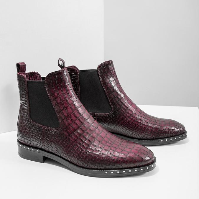 Damen-Chelsea-Boots aus Leder bata, Rot, 596-5678 - 18
