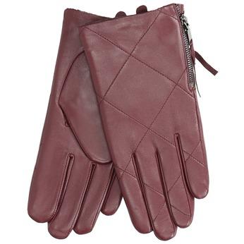 Weinrote Lederhandschuhe mit Reißverschluss bata, Rot, 904-5108 - 13