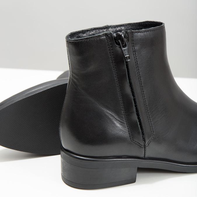 Schwarze Knöchelschuhe aus Leder mit Reissverschluss bata, Schwarz, 594-6518 - 14